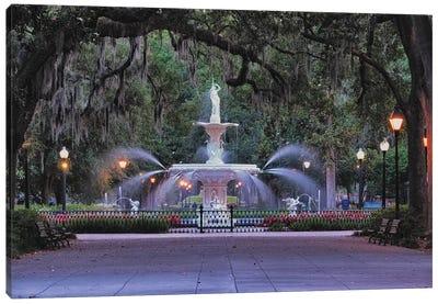 View Of The Forsyth Park Fountain Through Spanish Moss Draped Oak Trees Canvas Art Print