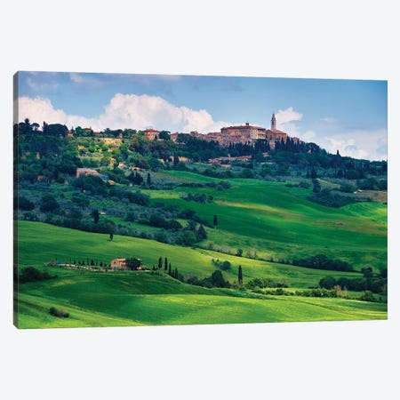 View Of The Town Pienza In A Tuscan Countryside, Italy Canvas Print #GOZ290} by George Oze Canvas Artwork