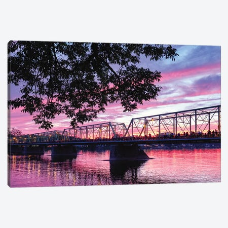 Delaware River Sunset In Lambertville, New Jersey 3-Piece Canvas #GOZ294} by George Oze Canvas Art Print