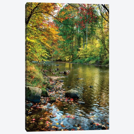 Fall Scene With A Creek, Oldwick, New Jersey Canvas Print #GOZ298} by George Oze Canvas Artwork
