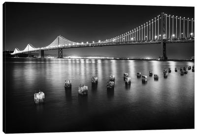 A Suspension Bridge Lit Up at Night, Bay Bridge Western Section, San Francisco, California Canvas Art Print
