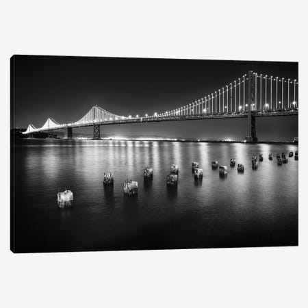A Suspension Bridge Lit Up at Night, Bay Bridge Western Section, San Francisco, California 3-Piece Canvas #GOZ2} by George Oze Canvas Artwork