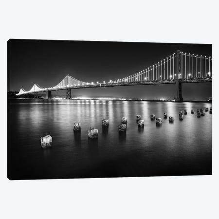 A Suspension Bridge Lit Up at Night, Bay Bridge Western Section, San Francisco, California Canvas Print #GOZ2} by George Oze Canvas Artwork