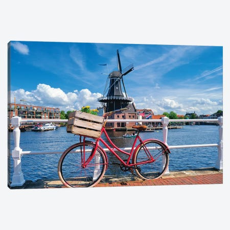 Dutch Essentials Bicycle And A Windmill Canvas Print #GOZ301} by George Oze Canvas Wall Art