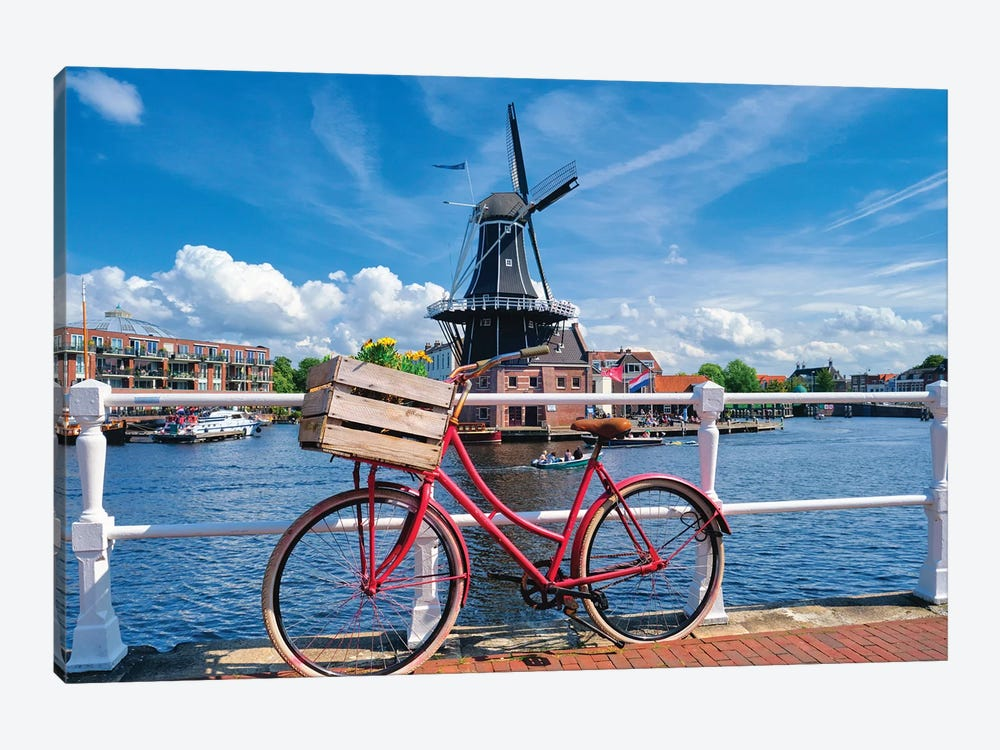 Dutch Essentials Bicycle And A Windmill by George Oze 1-piece Canvas Art