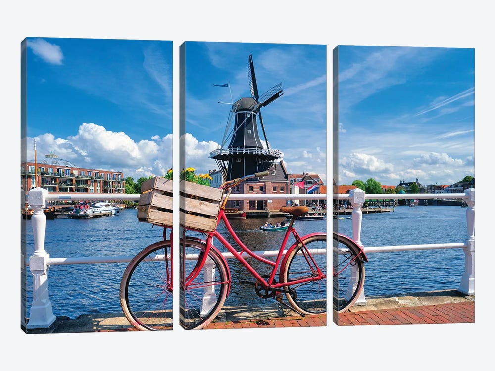 Dutch Essentials Bicycle And A Windmill by George Oze 3-piece Canvas Artwork