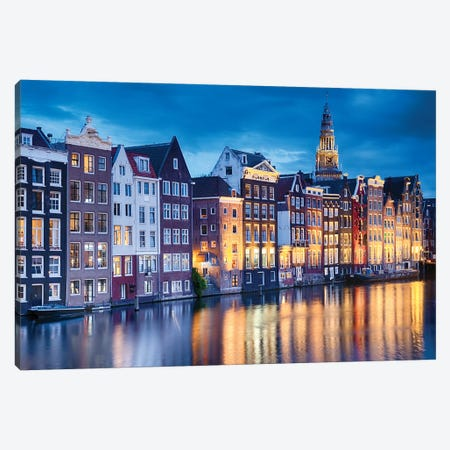 Amsterdam Old City At Night With The Oude Church, The Netherlands Canvas Print #GOZ302} by George Oze Canvas Art