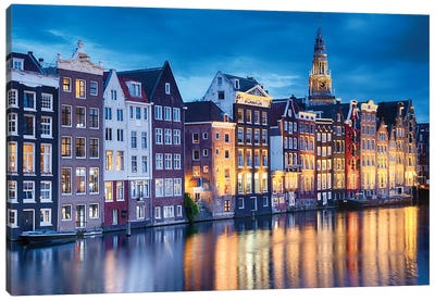 Amsterdam Old City At Night With The Oude Church, The Netherlands Canvas Art Print