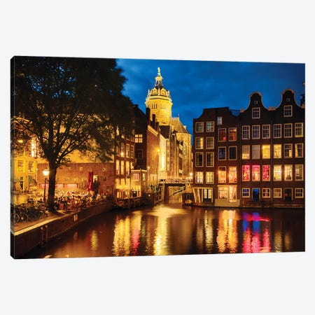 Night In Amsredam With Illuminated Buildings, Netherlands Canvas Print #GOZ303} by George Oze Canvas Art