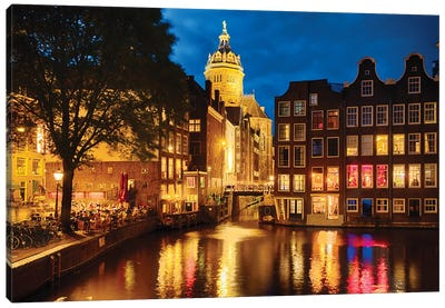 Night In Amsredam With Illuminated Buildings, Netherlands Canvas Art Print