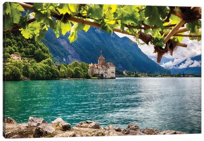 Castle View on Lake Geneva, Chillon Castle, Switzerland Canvas Art Print