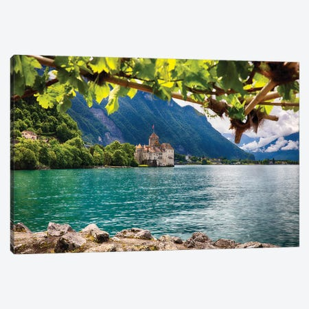 Castle View on Lake Geneva, Chillon Castle, Switzerland Canvas Print #GOZ30} by George Oze Canvas Art