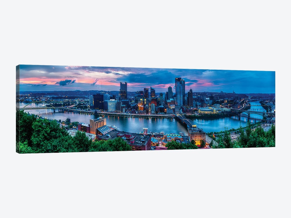 Skyline Panorama Of Pittsburgh Viewed From Mount Washington by George Oze 1-piece Canvas Wall Art