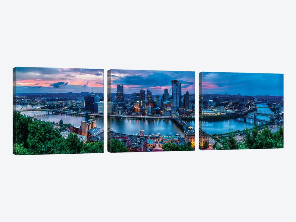 Skyline Panorama Of Pittsburgh Viewed From Mount Washington by George Oze 3-piece Canvas Wall Art