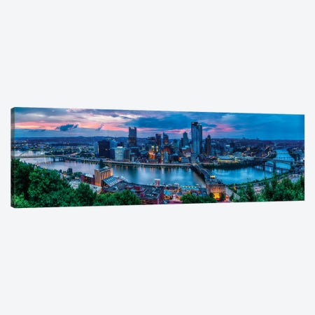 Skyline Panorama Of Pittsburgh Viewed From Mount Washington Canvas Print #GOZ310} by George Oze Canvas Art Print