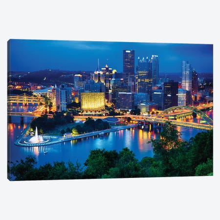 Pittsburgh Downtown Night Scenic View Canvas Print #GOZ311} by George Oze Canvas Print