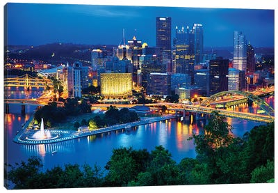 Pittsburgh Downtown Night Scenic View Canvas Art Print