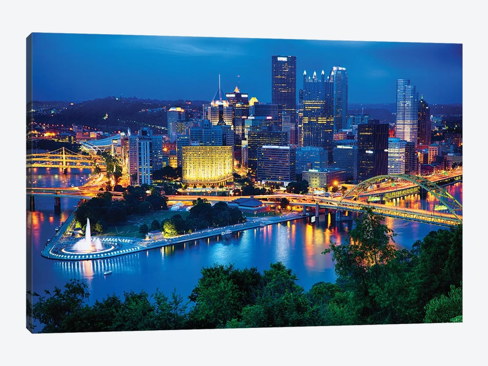 Pittsburgh Downtown Night Scenic View by George Oze 1-piece Canvas Art Print