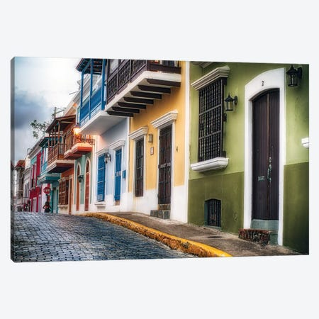 Low Angle View Of Colorful Houses On A Cobblestone Street Canvas Print #GOZ313} by George Oze Art Print