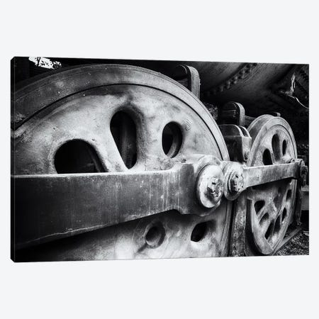 Close Up View Of Wheels Of A Steel Locomotive Canvas Print #GOZ315} by George Oze Canvas Artwork