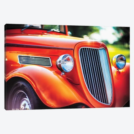 Chrome And Smooth Curves Of A Roadster 3-Piece Canvas #GOZ316} by George Oze Canvas Art
