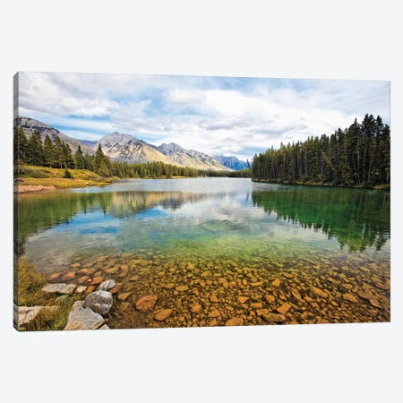 Lake Johnson Tranquility, Banff, Canada Canvas Print #GOZ320} by George Oze Canvas Wall Art