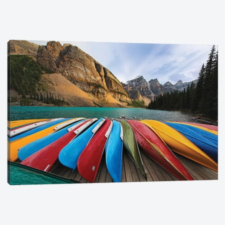 Colorful Canoes On A Dock, Moraine Lake, Canada 3-Piece Canvas #GOZ321} by George Oze Canvas Art