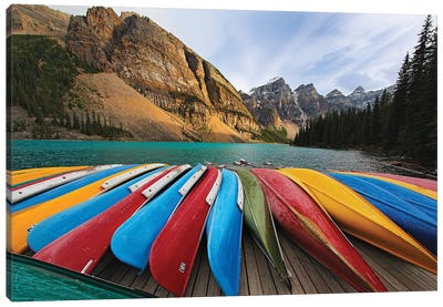 Colorful Canoes On A Dock, Moraine Lake, Canada Canvas Art Print