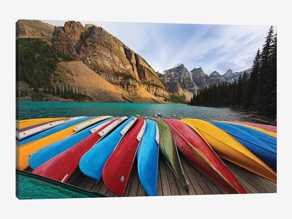 Colorful Canoes On A Dock, Moraine Lake, Canada by George Oze 1-piece Canvas Wall Art