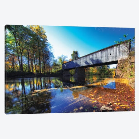 Autumn Scenic At The Schoefield Ford Covered Bridge 3-Piece Canvas #GOZ322} by George Oze Canvas Wall Art