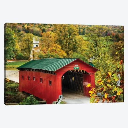Scenic Covered Bridge Of West Arlington, Vermont Canvas Print #GOZ324} by George Oze Art Print