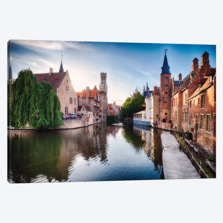 Bruges With Water Canal At Late Afternoon Canvas Print #GOZ325} by George Oze Canvas Art Print