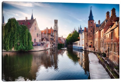 Bruges With Water Canal At Late Afternoon Canvas Art Print