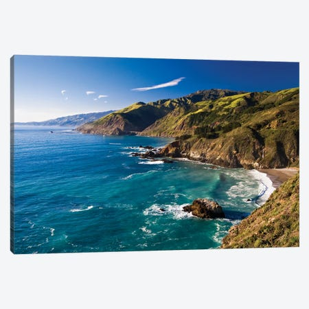 Big Sur Shoreline At Big Creek Canvas Print #GOZ329} by George Oze Canvas Wall Art