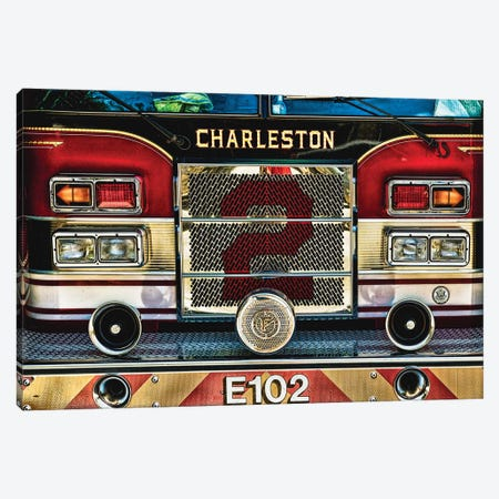 Charleston Fire Engine Front Close Up Canvas Print #GOZ32} by George Oze Canvas Art