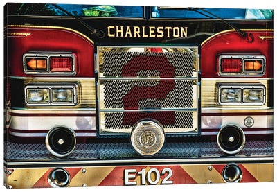 Charleston Fire Engine Front Close Up Canvas Art Print