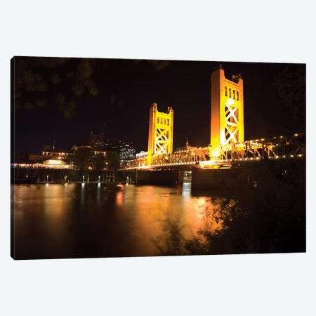 Tower Bridge Of Sacramento At Night Canvas Print #GOZ330} by George Oze Canvas Art Print
