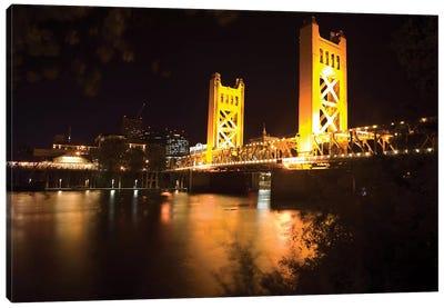 Tower Bridge Of Sacramento At Night Canvas Art Print