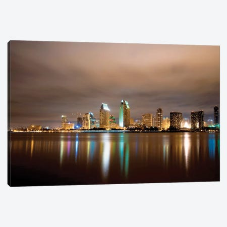 San Diego Night Panorama Canvas Print #GOZ331} by George Oze Art Print