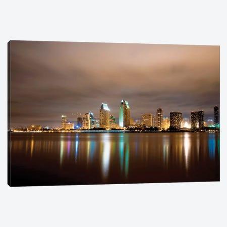 San Diego Night Panorama Canvas Print #GOZ331} by George Oze Art Print