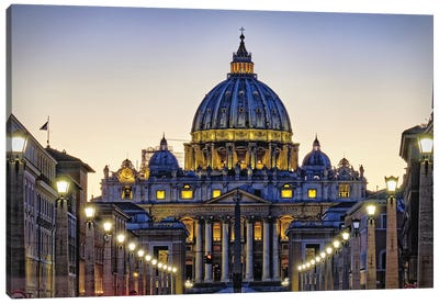 The Papal Basilica Of St Peters At Night Canvas Art Print