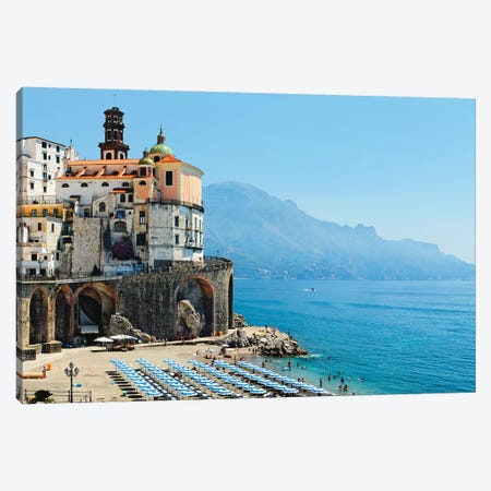 Atrani Beach, Amalfi Coat, Italy Canvas Print #GOZ336} by George Oze Canvas Wall Art