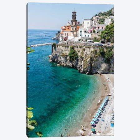 High Angle View Of A Beach At The Amalfi Coast, Atrani, Campania, Italy Canvas Print #GOZ337} by George Oze Canvas Art