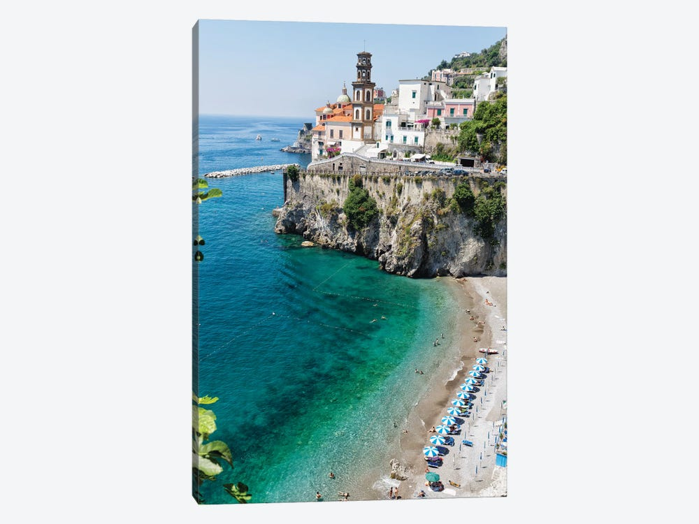High Angle View Of A Beach At The Amalfi Coast, Atrani, Campania, Italy by George Oze 1-piece Canvas Print