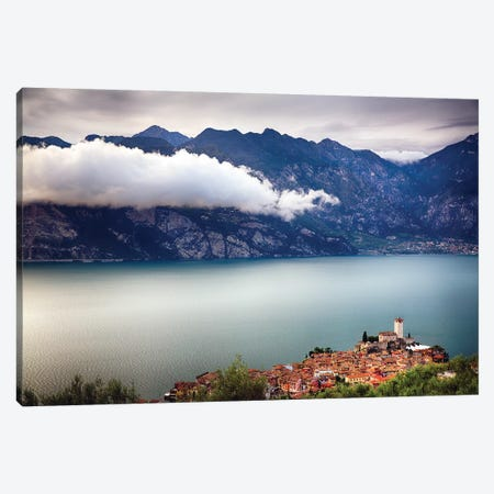 Medieval Town And Castle On A Hill, Malcesine, Lake Garda, Veneto, Italy Canvas Print #GOZ340} by George Oze Canvas Artwork