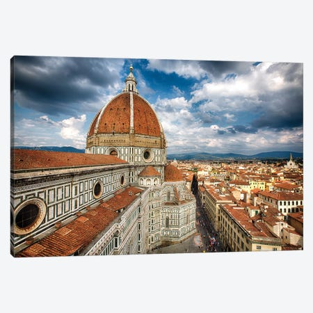 Dome Of The Basilica Of Saint Mary Of The Flower, Florence, Tuscany, Italy Canvas Print #GOZ341} by George Oze Canvas Artwork
