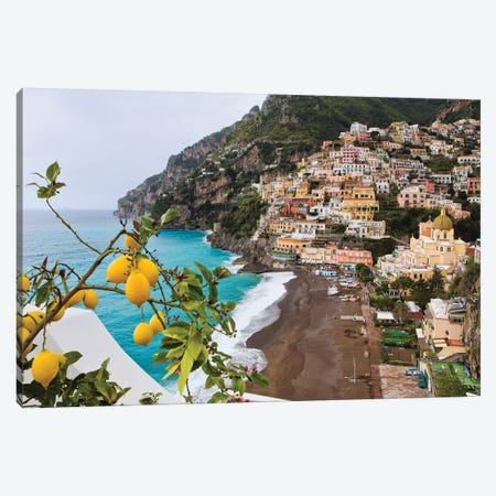 Positano Spring View, Amalfi Coast, Italy Canvas Print #GOZ342} by George Oze Canvas Artwork