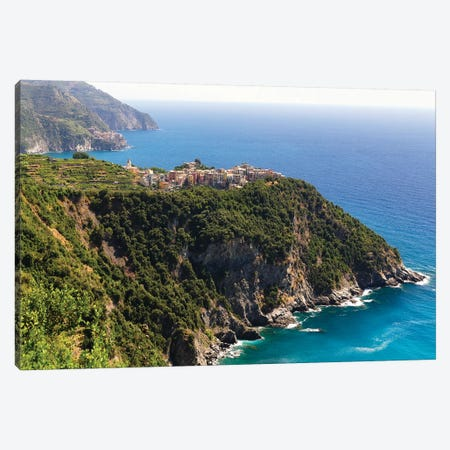 Town On A Cliff At Seaside, Corniglia, Cinque Terre, Liguria, Italy Canvas Print #GOZ343} by George Oze Canvas Art