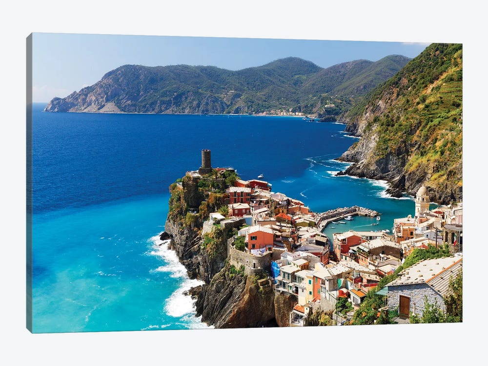 Coastal Town On A Cliff, Vernazza, Cinque Terre, Liguria, Italy by George Oze 1-piece Art Print