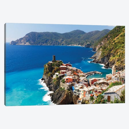 Coastal Town On A Cliff, Vernazza, Cinque Terre, Liguria, Italy Canvas Print #GOZ344} by George Oze Art Print